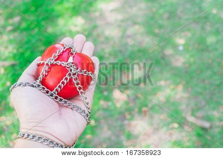 Red Heart Tied With Chains, Valentine Concept.