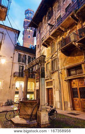Lamberti tower in Verona. Verona Veneto Italy.