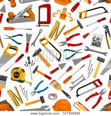 Repair tools or construction items seamless pattern background. Pliers and spatula, helmet and hammer, ruler and brush with paint, spanner and trowel, saw and drill, pin or nail, jointer or plane, screwdriver. House maintenance or builder items theme
