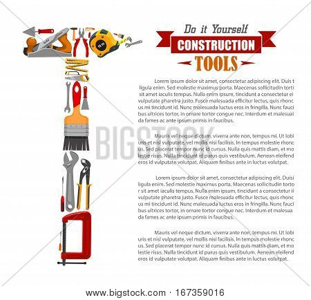 Repair instruments or items, construction tools poster. Spatula and hammer, ruler and paint brush, shovel and plane or jointer, spanner and screwdriver, trowel and saw. Home building, house renovation