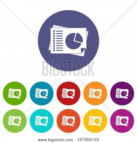 Sheets of paper with charts set icons in different colors isolated on white background
