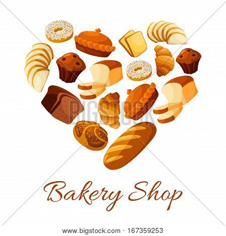 Bread and croissant, donut shaped as heart. Doughnut and baked bun, bagel and cake with raisins, baguette or baton, cereal rye anadama. Bakehouse or bakery, pastry shop or store, rural nutrition and crop theme