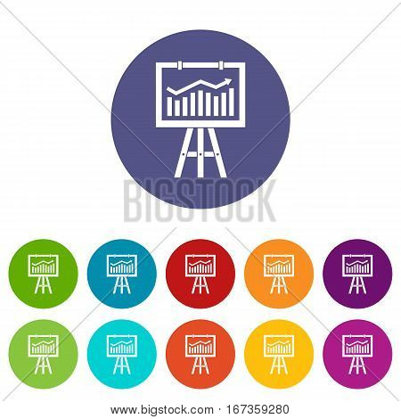 Flipchart with marketing data set icons in different colors isolated on white background