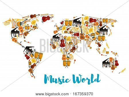 World map made of musical instruments. Acoustic and electric guitar, sax or saxophone, drum kit and lyre, piano and fortepiano, horn and trumpet, flute or fife and treble clef, maraca or rumba shakers, contrabass and fiddle. Concert or show theme