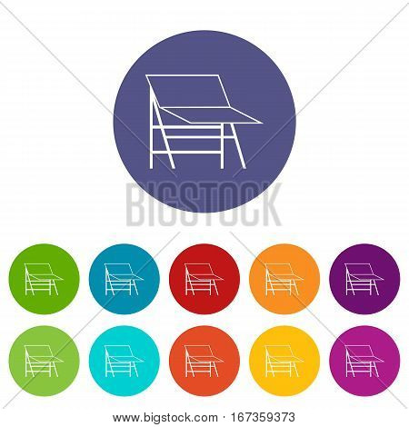 Blank portable screen set icons in different colors isolated on white background