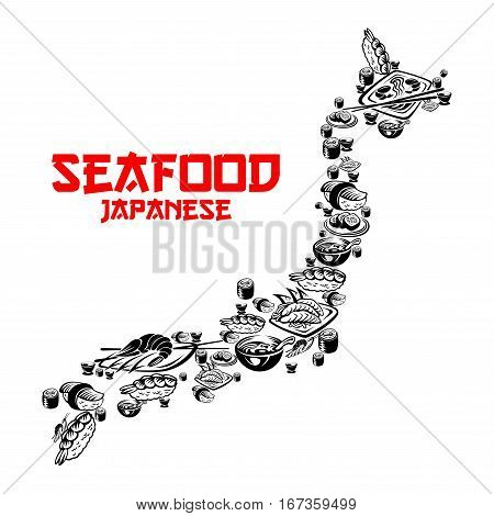 Map of japan that consists of japanese seafood. Asian rice and sushi rolls, shrimp and salmon, uramaki or maki, nori and sashimi, chopsticks with wasabi or soy sauce, temaki and caviar. Bar or restaurant poster, traditional cooking theme