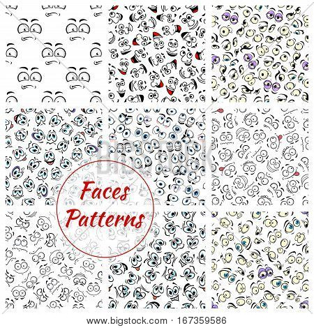 Set of cartoon faces expression seamless pattern background. Smiling facial emotions or emoticon like laugh and joy, sad mouth or cheerful eyebrow, scared or joyful, anger or wondering emotion. Caricature backdrop theme