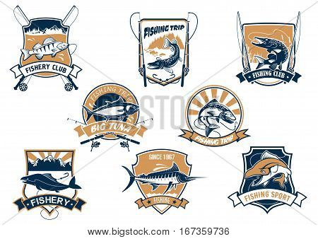Sport fish isolated icons with rods. Sea bluefin banner and tuna symbol, freshwater finfish sign, river luce or pike and spinning with bait bait and bobbin. Fisherman club equipment or badge, sport or leisure club, fishery camp theme