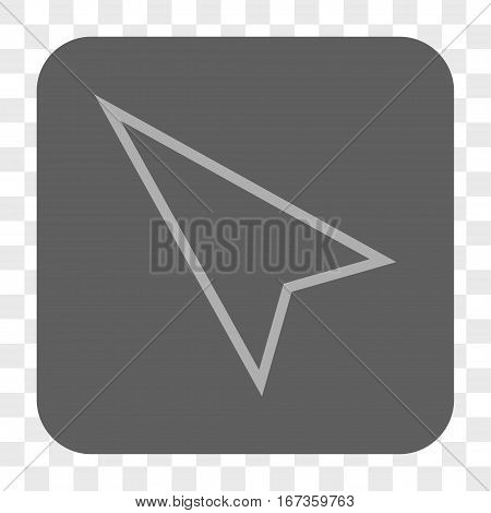 Pointer Left Up interface toolbar button. Vector icon style is a flat symbol in a rounded square button, light gray and gray colors, chess transparent background.