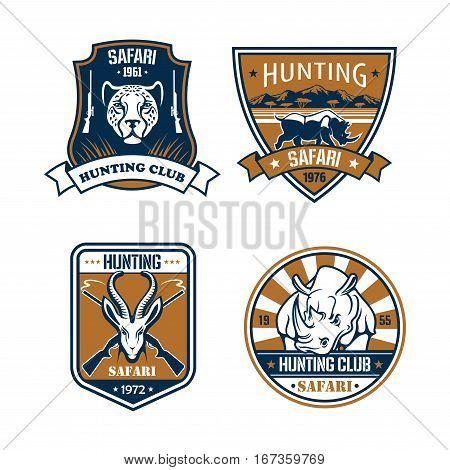 Hunting club emblems set. Hunter safari adventure icons and ribbons with wild african savanna animals cheetah panther or leopard, hippopotamus or rhino rhinoceros, gazelle or saiga antelope. Vector signs with rifle guns and stars for hunt badges