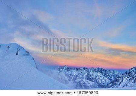 Sunrice in the winter mountain