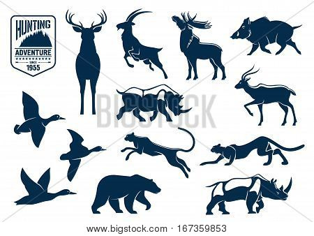 Hunting animals silhouette icons. Stag and deer, capra or mountain goat, reindeer with antler and wapiti, cervus and wild boar, rhino or rhinoceros, panther and american grizzly bear, duck bird. Hunting for mammals at safari and savanna, forest theme