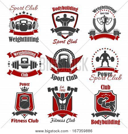 Weight sport and bodybuilder isolated icon. Strong athlete and cup with laurel wreath, powerlifting athlete with barbell or dumbbell with ribbon and crown, muscular sportsman. Workout and healthy training, bodybuilding theme