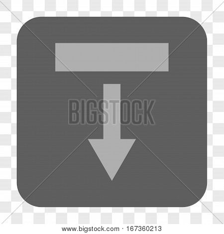 Pull Down interface toolbar button. Vector icon style is a flat symbol in a rounded square button, light gray and gray colors, chess transparent background.