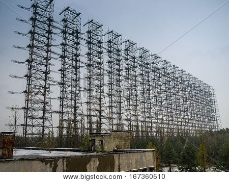 Former Russian over the horizon radar system DUGA 3 (Woodpecker) close to Chernobyl that allowed to track ballistic missile launches