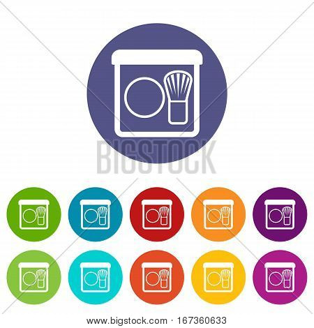 Rouge with brush set icons in different colors isolated on white background