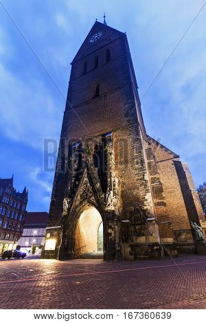 Marktkirche in Hanover at night. Hanover Lower Saxony Germany.