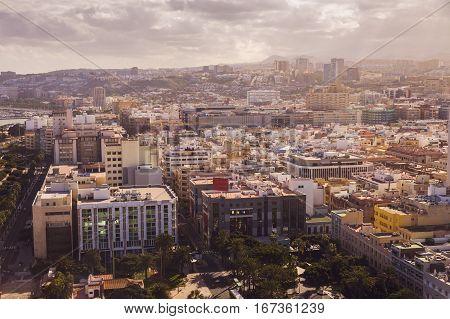 Panorama of Las Palmas de Gran Canaria. Las Palmas Gran Canaria Spain.