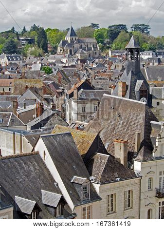 A view overlooking the city of Amboise France.