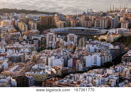 Panorama of Santa Cruz de Tenerife at sunrise. Santa Cruz de Tenerife Tenerife Spain.