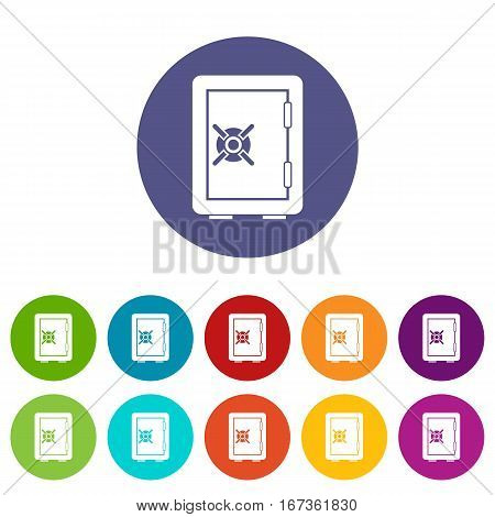 Safety deposit box set icons in different colors isolated on white background