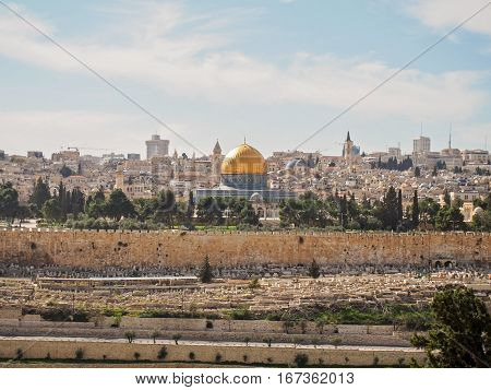 A view of the city of old Jerusalem from the Mount of Olives.