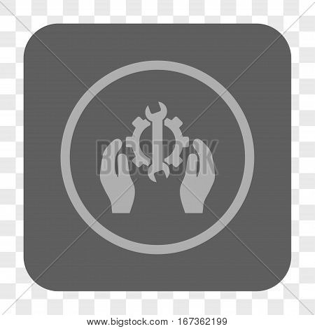 Repair Service interface toolbar button. Vector icon style is a flat symbol inside a rounded square button, light gray and gray colors, chess transparent background.