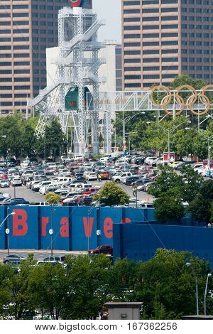 A view of the parking lot of Sun Trust Park Stadium home of the Atlanta Braves.