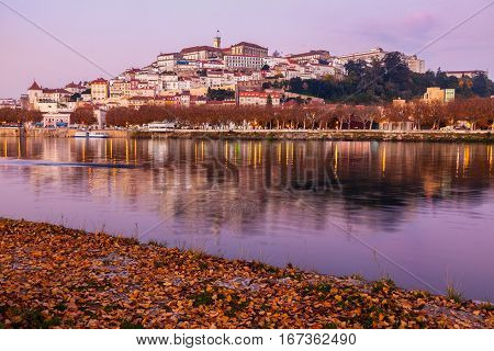 Panorama of Coimbra across Mondego River. Coimbra Centro Region Portugal.