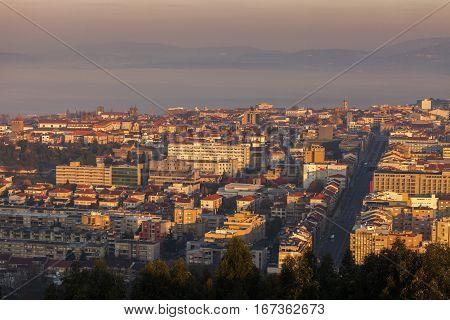Panorama of Braga at sunrise. Braga Norte Region Portugal.