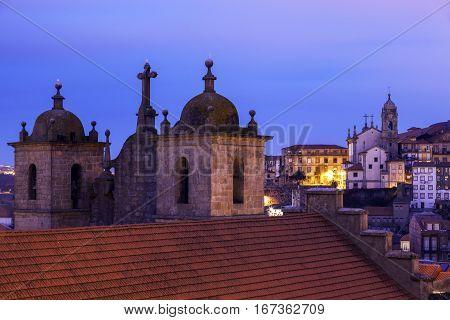Se Cathedral in Porto at sunrise. Porto Norte Portugal.