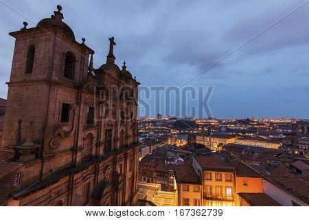 Sao Lourenco church in Porto at sunrise. Porto Norte Portugal.
