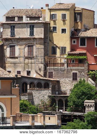 Traditional homes built on the hillside of Tivoli in Italy.
