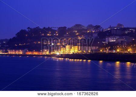 Panorama of Porto along Douro River - seen at night. Porto Norte Portugal.