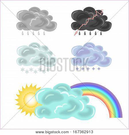 Five variants of clouds, rainbow and sun. Rain, snow, hail storm
