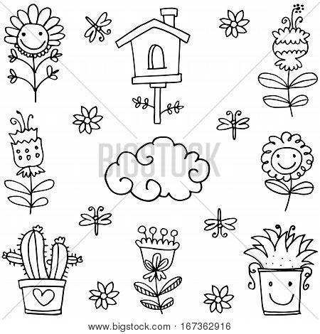 Collection stock of spring doodles vector art