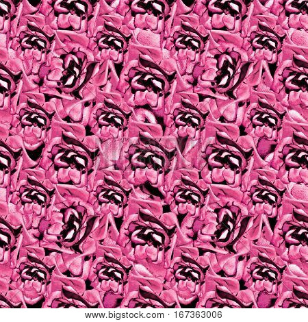 Digital photo collage and manipulation technique nature floral collage motif seamless pattern mosaic in vibrant pink tones