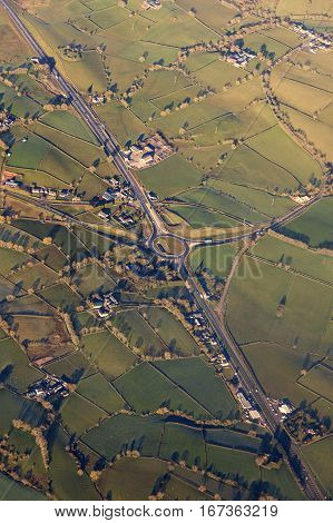 Aerial view of Northern Ireland. Northern Ireland United Kingdom.