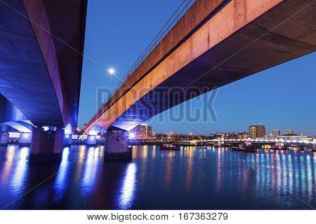 Belfast architecture along River Lagan. Belfast Northern Ireland United Kingdom.