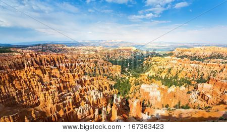 Top view on Bryce Canyon with skyline.