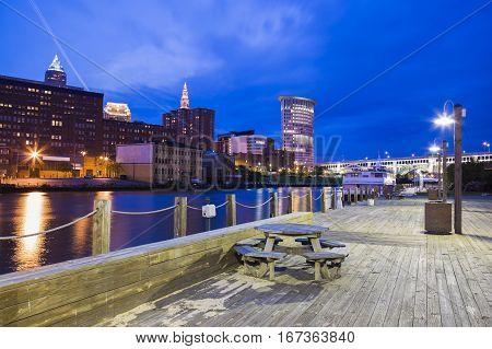 Cleveland panorama at night. Cleveland Ohio USA.