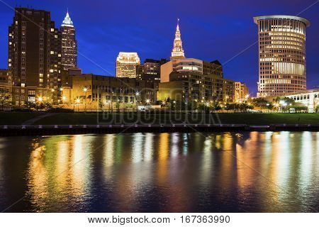 Cleveland skyline at night. Cleveland Ohio USA.