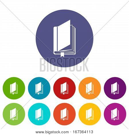 Book with bookmark set icons in different colors isolated on white background