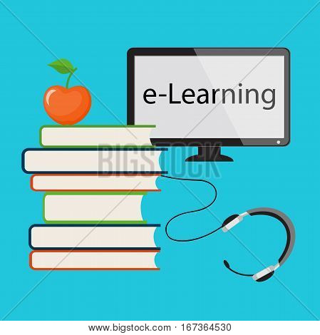 Modern design concept of the learning for website or banner of e-learning training business management courses online education seminar webinar with book apple and computer monitor. eps 10