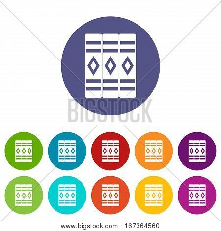 Three literary books set icons in different colors isolated on white background