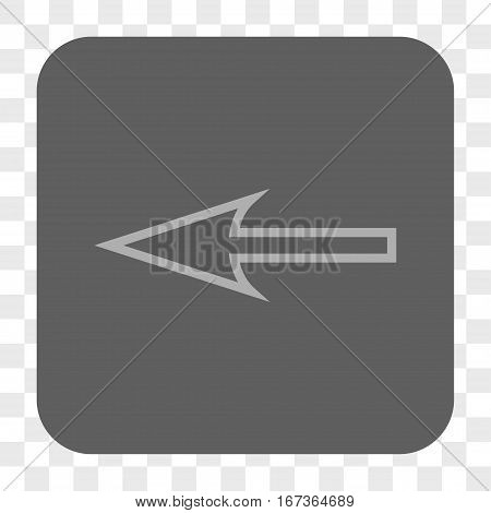 Sharp Arrow Left interface toolbar button. Vector icon style is a flat symbol inside a rounded square button, light gray and gray colors, chess transparent background.