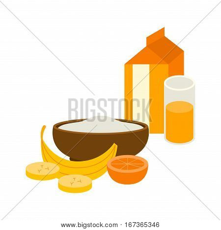 Semolina porridge with banana and orange juice. Healthy white breakfast with berries. Organic cereal meal pudding dessert sweet milk vector food bowl.