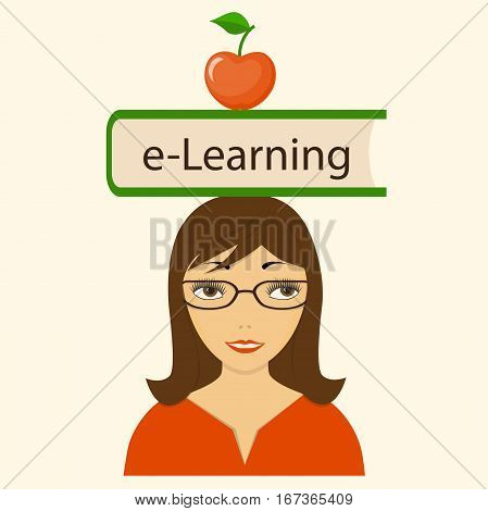 Flat modern design concept of the e-learning for website or banner of e-learning training seminar webinar business management courses online education e-book with girl book and apple. eps 10