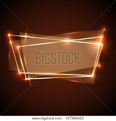 Abstract background with orange neon banner, stock vector