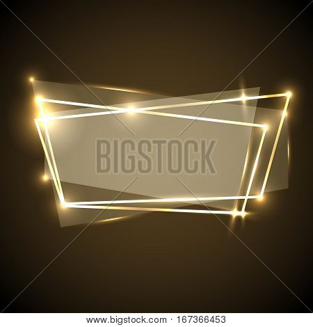 Abstract background with gold neon banner, stock vector